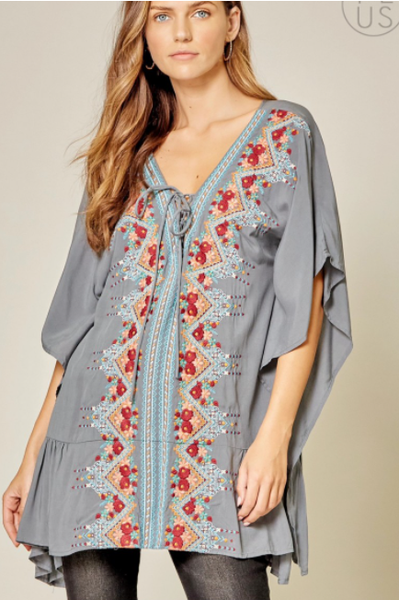 Light Grey Woven Boho Top - Embroidered