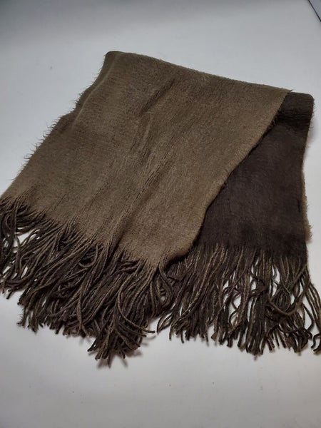 Two Tone Fringed Oblong Scarf - Brown