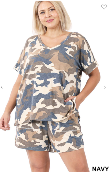 Camo Short Lounge Set