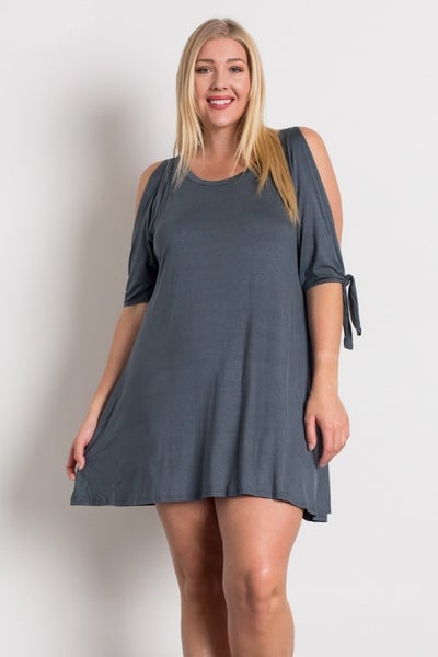 FLIRTY COLD SHOULDER DRESS - TITANIUM