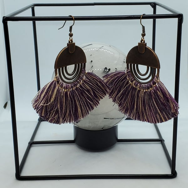 Purple Brass Tassel Earrings