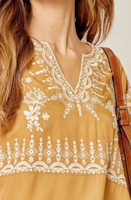 Embroidered Bell Sleeve Top - Yellow