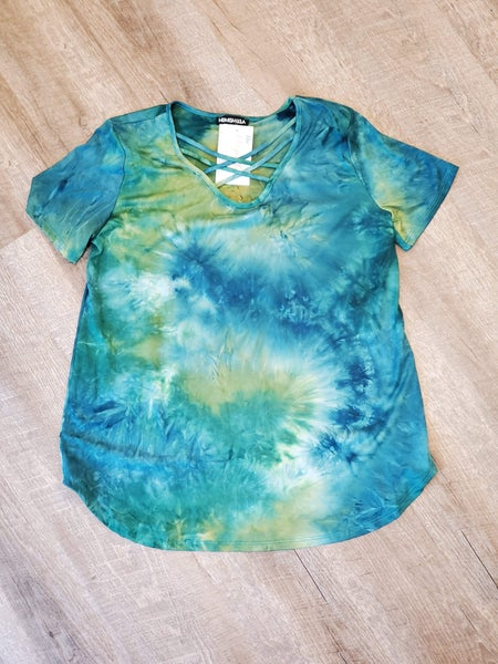 Green Tie Dye Top CrissCross