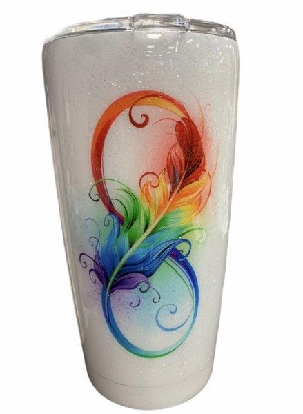 Infinity Feather Rainbow Tumbler 20oz