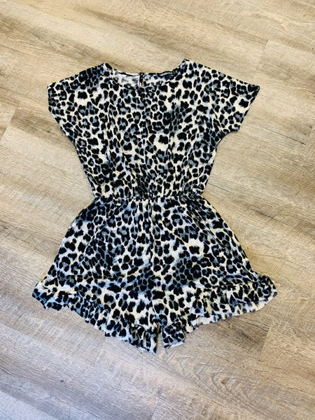 Animal Print Romper w/ Pockets