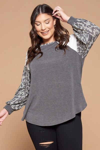 Color Block French Terry Animal Print Balloon Sleeves Casual Top