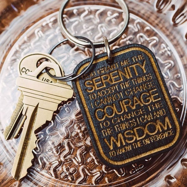 Serenity Prayer Wooden Keychain - Black
