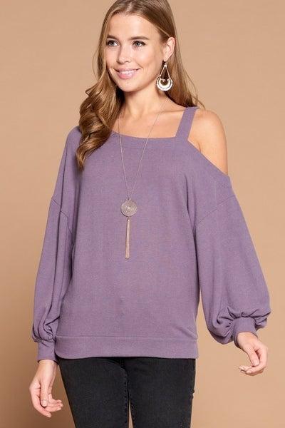 Cold Shoulder Pullover - Lilac