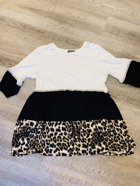 Tri-color Animal Print Ruffle Top