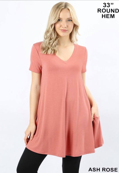 Short Sleeve  Tunic - Rose *Final Sale*