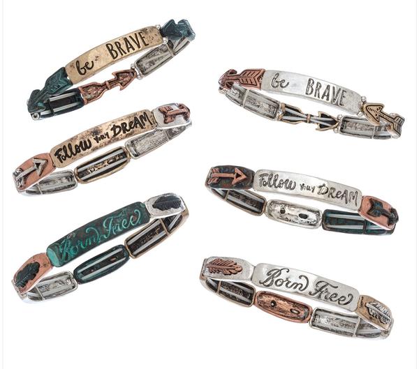 Inspirational Tri-Tone Stretch Bracelet