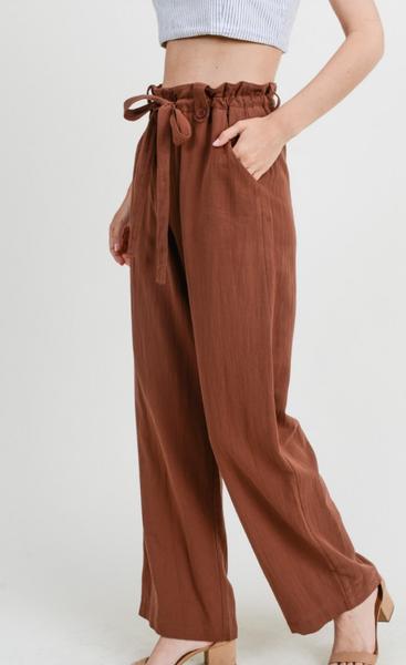Rayon Paper bag-Waist Wide Leg Pants