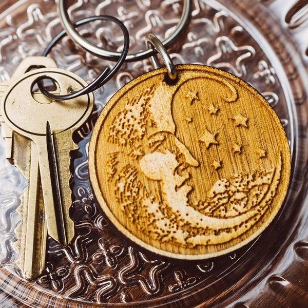 Woodcut Moon Wooden Keychain