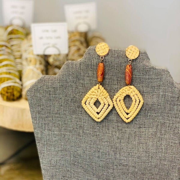 Wooven Geometric Shape Brown Earrings