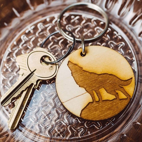 Howling Wolf Wooden Keychain