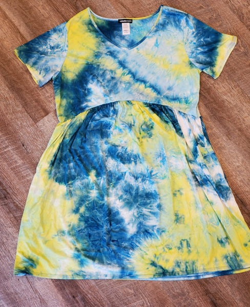 Green Tie Dye Dress with Pockets