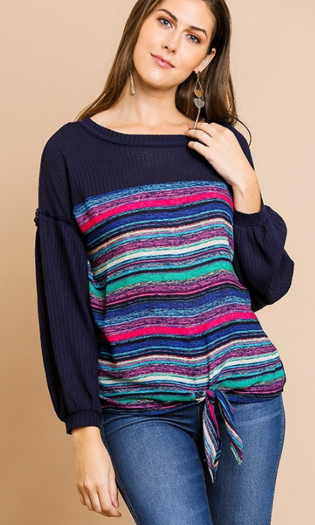 Long Puff Sleeve Waffle Knit Multicolored Stripe Front Top with Front Tie