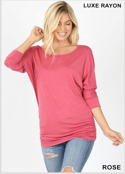 LUXE RAYON BOAT NECK DOLMAN 3/4 SLEEVE WITH SIDE RUCHED TOP - Rose *Final Sale*