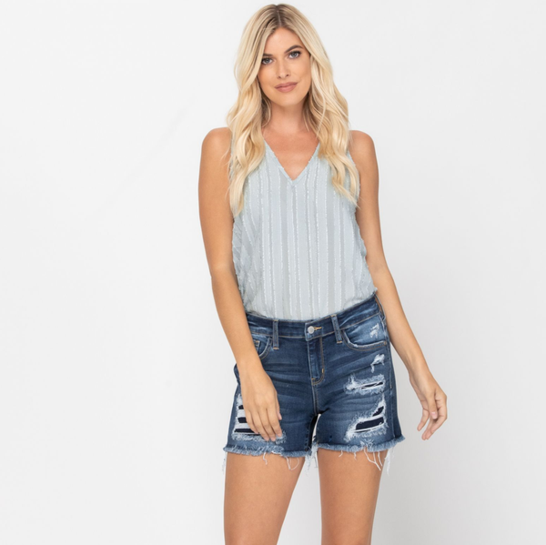 Mid-Rise Patch Cut Off Shorts Judy Blue