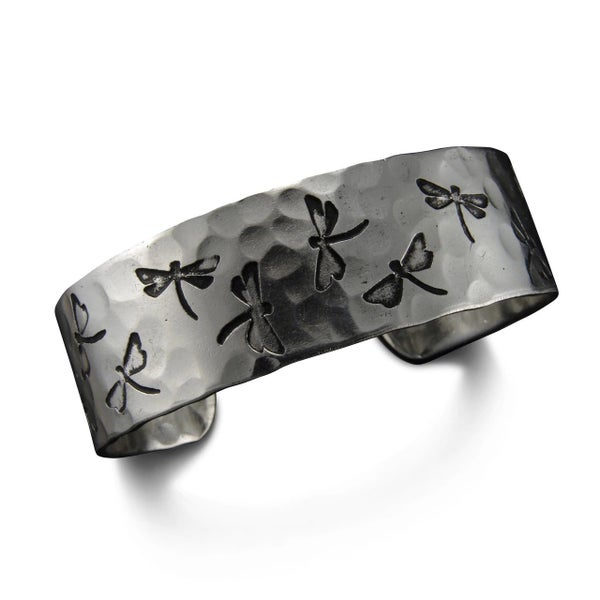 Silver Etched Dragonfly Cuff