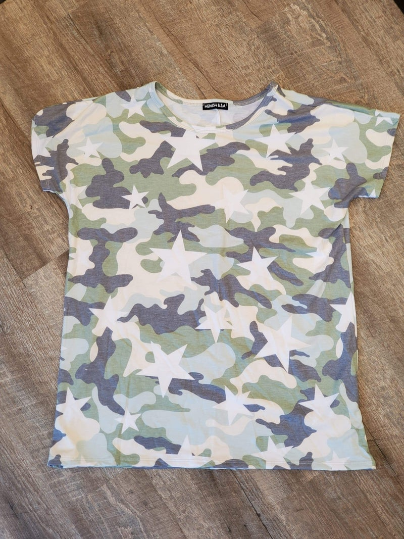 Camo and Stars Olive T-Shirt