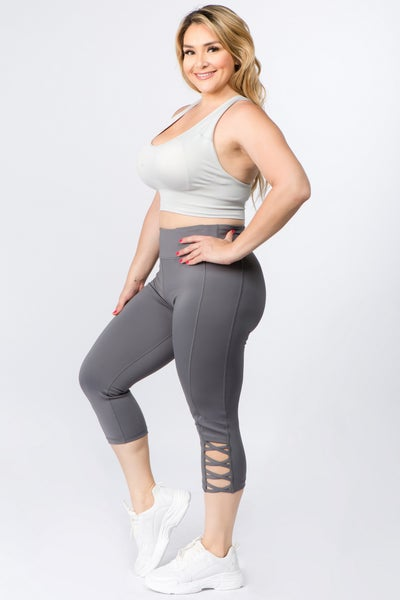 Active Lattice Capri Cutout Workout Leggings - Charcoal