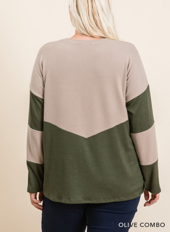 Hacci Brushed Color Block Pullover Top - Boho Comfort