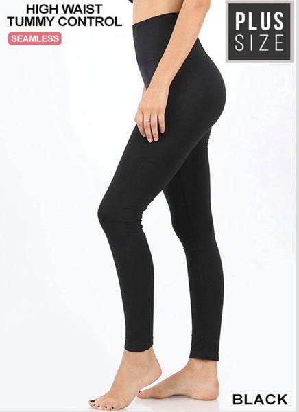 PLUS HIGH WAIST DIAMOND SHAPE BAND TUMMY CONTROL SEAMLESS LEGGINGS- Black
