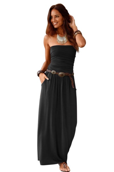 Black Strapless Bodice Empire Waist Maxi Dress *Final Sale*