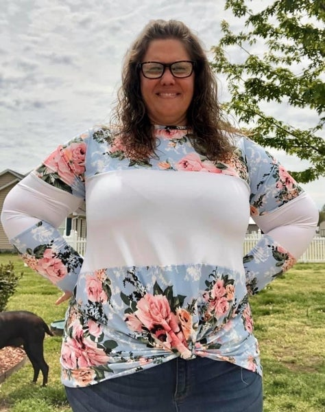 Blue Floral Color Block Knotted Top