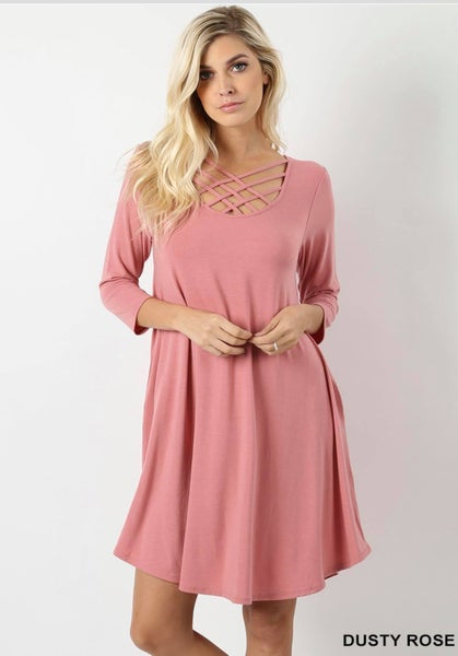 PREMIUM FABRIC 3/4 SLEEVE TRIPLE LATTICE DRESS WITH SIDE POCKETS-Dusty Rose *Final Sale*
