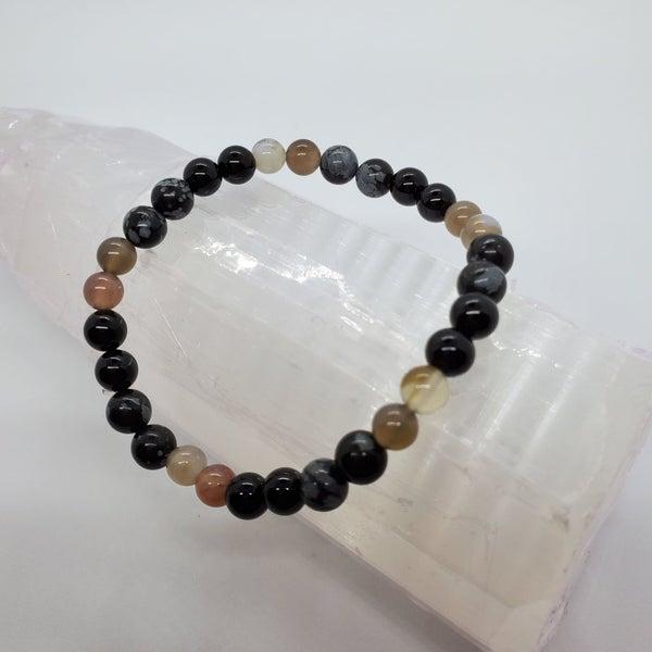 Snowflake Obsidian / Botswana Agate / Black Agate Bracelet 6mm