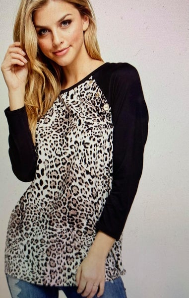 Cheetah Print Raglan with accent buttons *Final Sale*