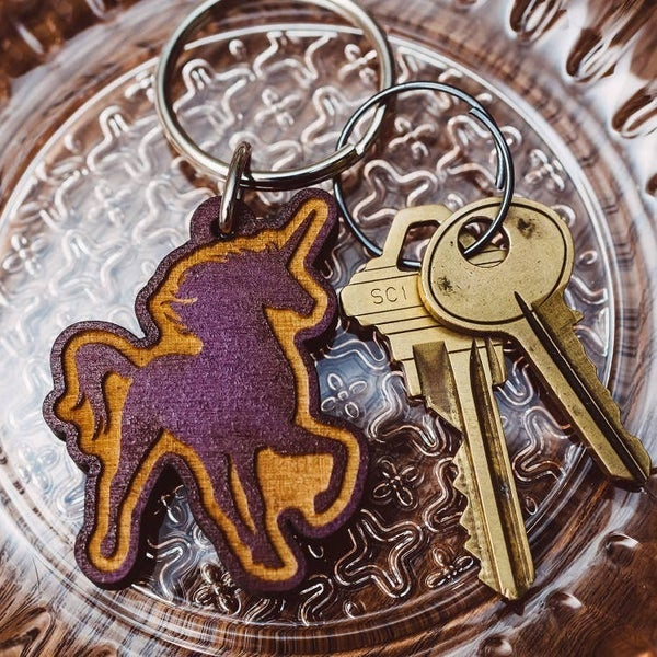 Unicorn Wooden Keychain