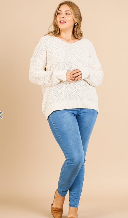 Long Sleeve V-Neck Fuzzy Soft Knit Pullover Sweater with Ribbed Knit Hem