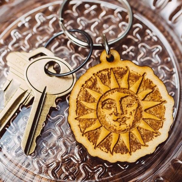 Woodcut Sun Wooden Keychain