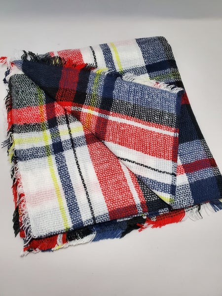 Best Selling Oversize Checker Blanket Scarf - High Navy