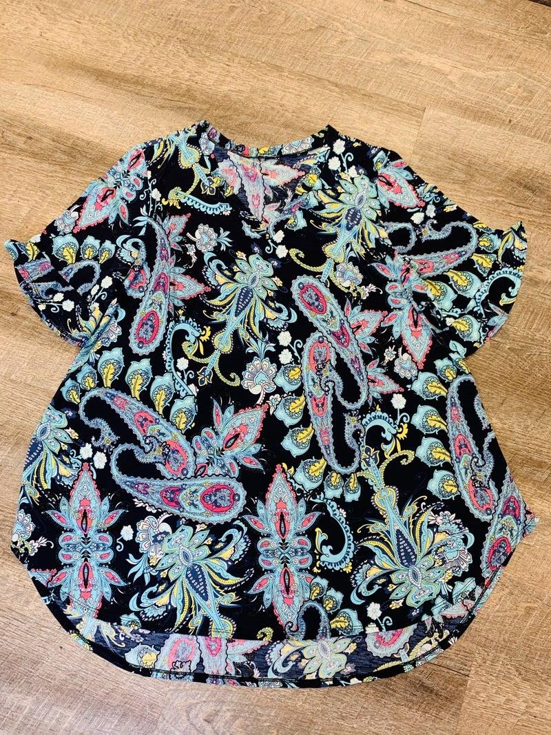 Navy Floral Ruffle Sleeve