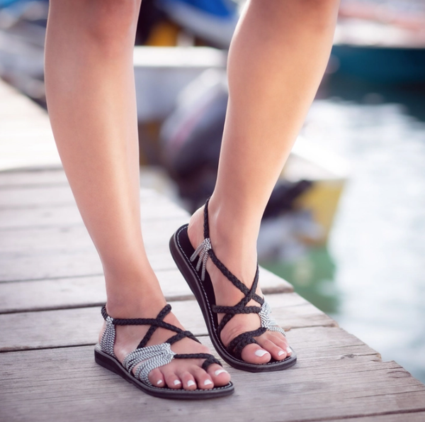 Palm Leaf Flat Summer Sandals - Black Zebra