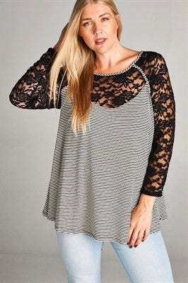 Lace Long Sleeve Tunic Stripe