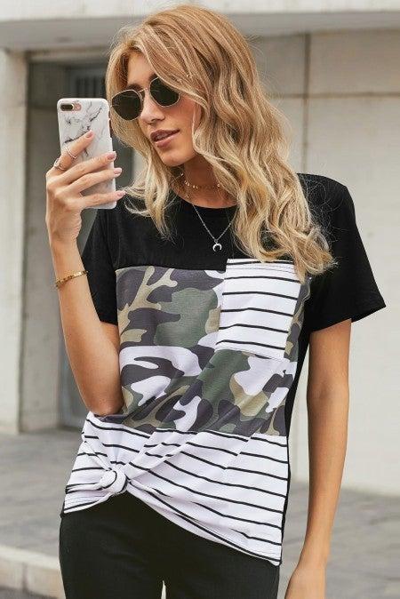 Striped Camo Pocket T-shirt