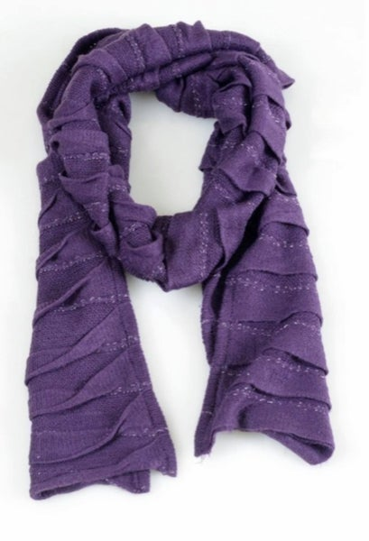 Fringed Oblong Scarf - Purple