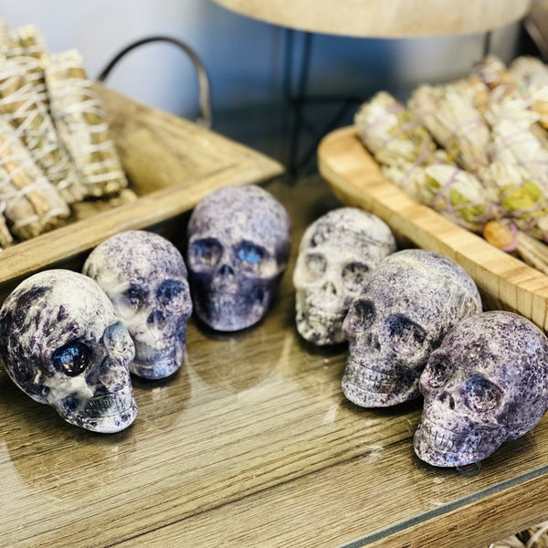 Lepidolite Skull - Medium