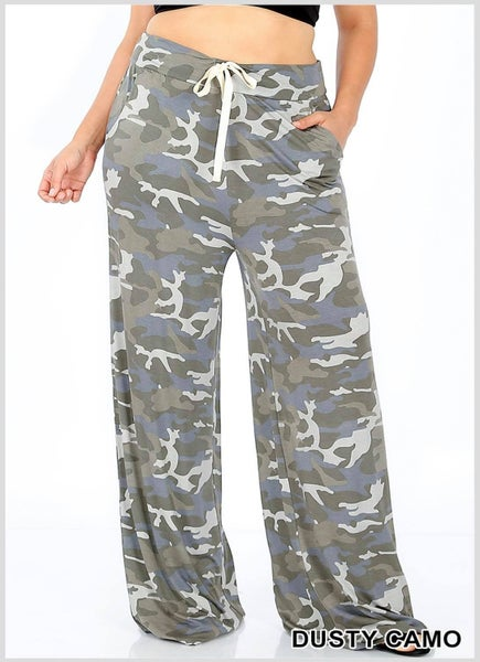 PLUS CAMOUFLAGE FULL SIZE LOUNGE PANTS WITH DRAWSTRING WAIST & SIDE POCKETS