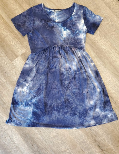 Navy Tie Dye Dress with Pockets