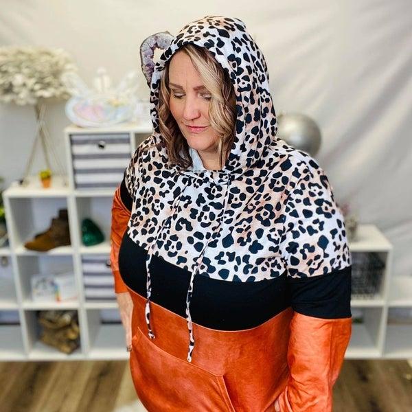 Rust Leopard Tie Dye Color Block Hoodie