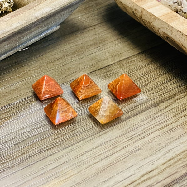 Fire Agate Pyramids - small