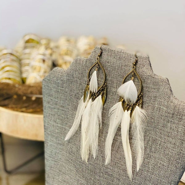 White Feather Tear Drop Earrings