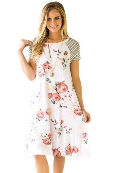 Floral Print T-shirt Dress *Final Sale*