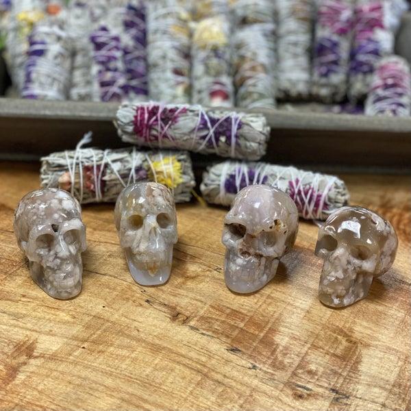 Flower Agate Skulls - Medium
